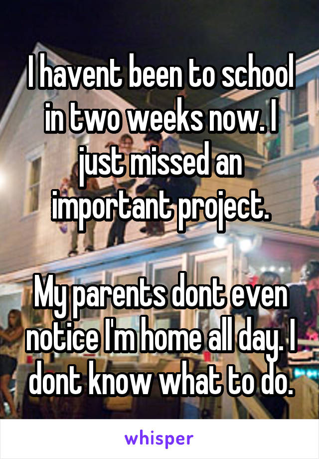 I havent been to school in two weeks now. I just missed an important project.  My parents dont even notice I'm home all day. I dont know what to do.