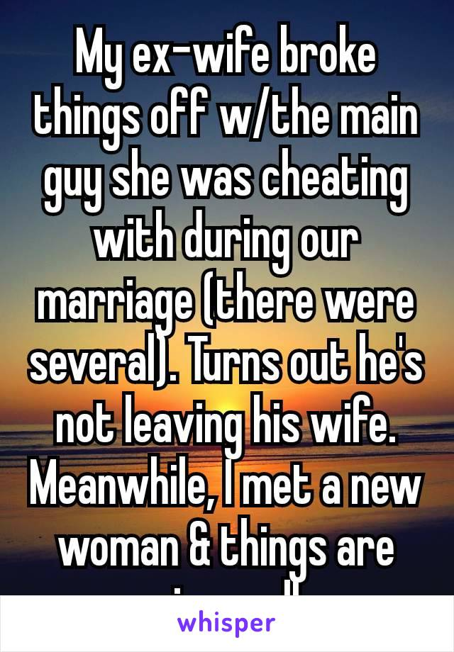 My ex-wife broke things off w/the main guy she was cheating with during our marriage (there were several). Turns out he's not leaving his wife. Meanwhile, I met a new woman & things are going well.