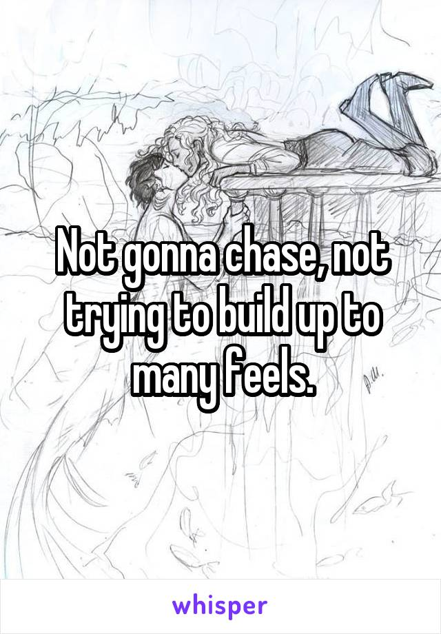 Not gonna chase, not trying to build up to many feels.