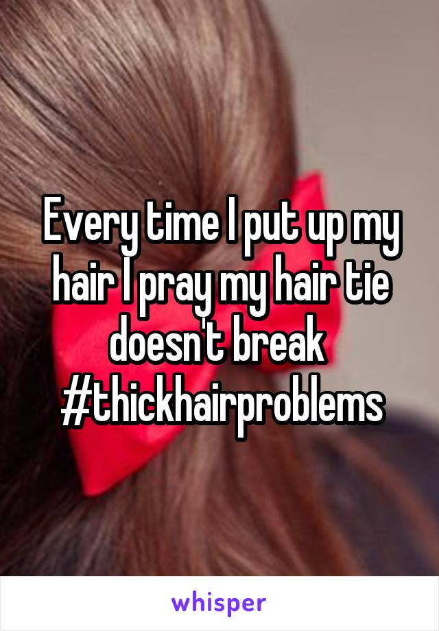 Every time I put up my hair I pray my hair tie doesn't break  #thickhairproblems