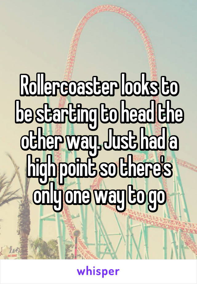 Rollercoaster looks to be starting to head the other way. Just had a high point so there's only one way to go