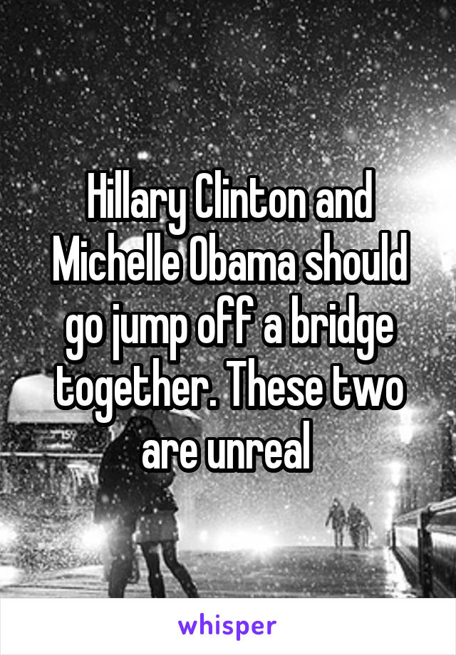 Hillary Clinton and Michelle Obama should go jump off a bridge together. These two are unreal