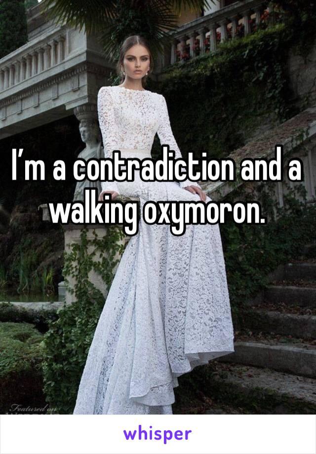 I'm a contradiction and a walking oxymoron.
