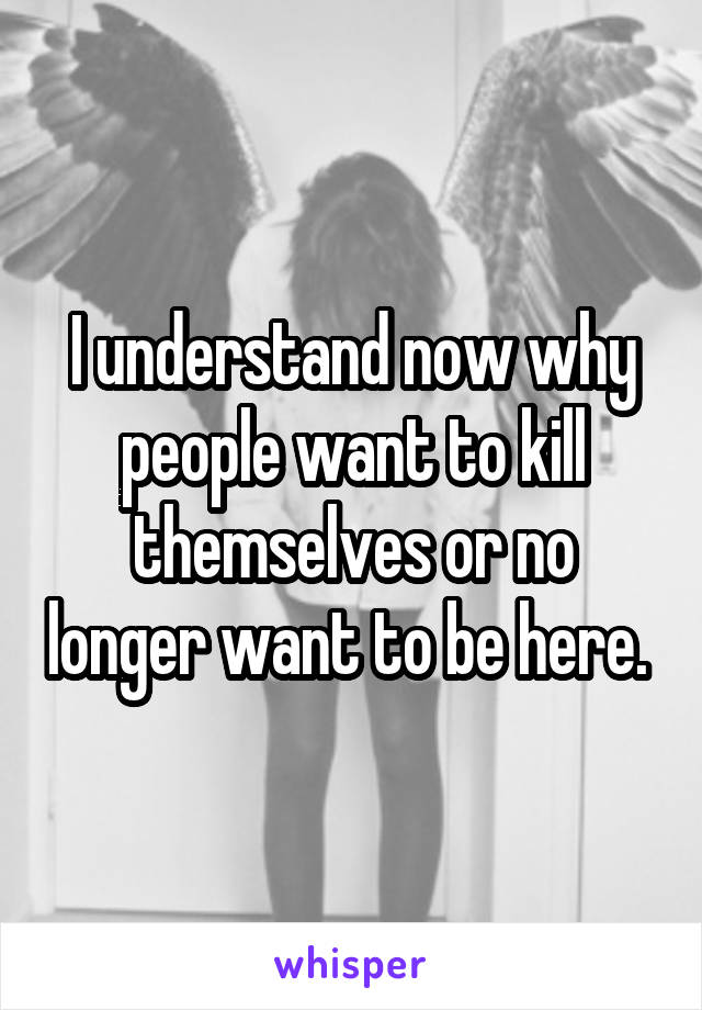 I understand now why people want to kill themselves or no longer want to be here.