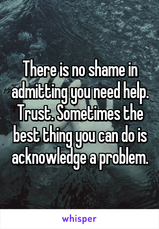 There is no shame in admitting you need help. Trust. Sometimes the best thing you can do is acknowledge a problem.