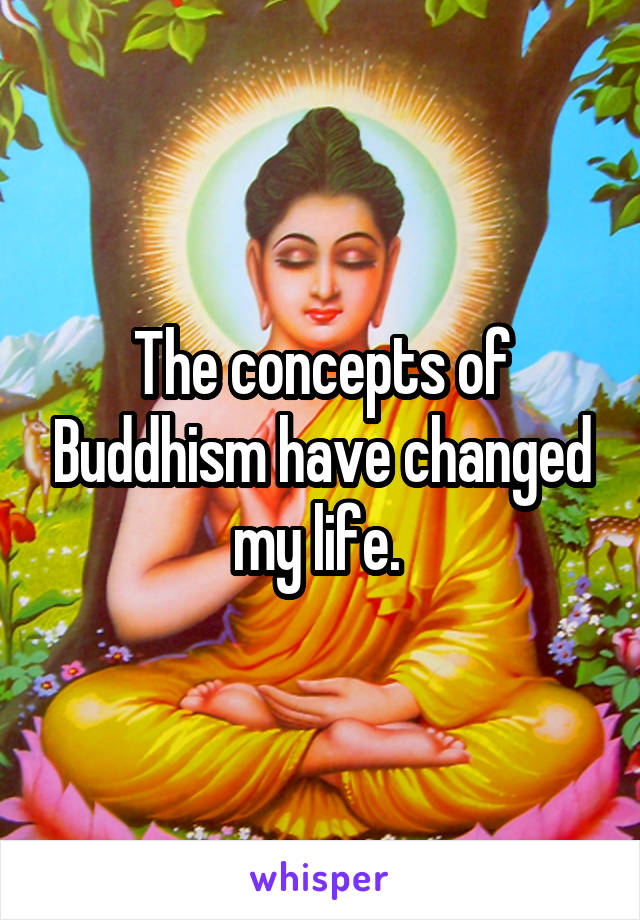 The concepts of Buddhism have changed my life.