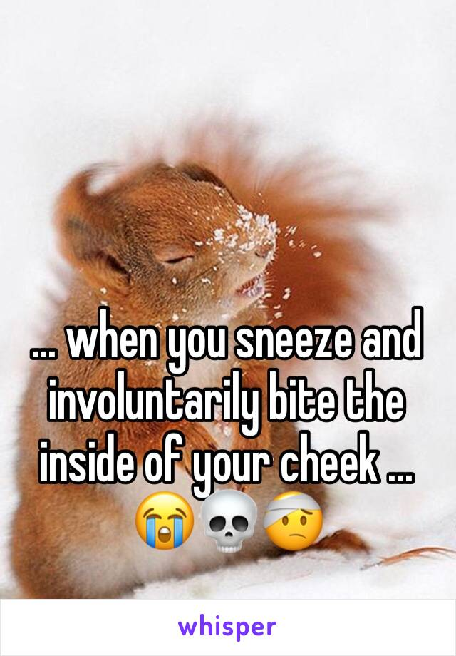 ... when you sneeze and involuntarily bite the inside of your cheek ... 😭💀🤕