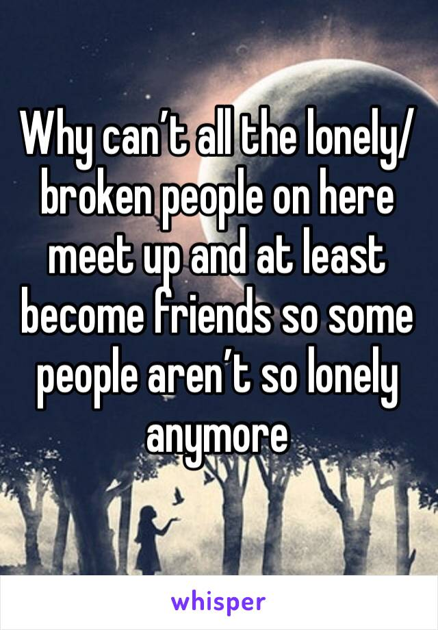 Why can't all the lonely/broken people on here meet up and at least become friends so some people aren't so lonely anymore