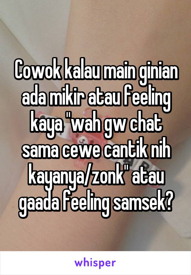 "Cowok kalau main ginian ada mikir atau feeling kaya ""wah gw chat sama cewe cantik nih kayanya/zonk"" atau gaada feeling samsek?"