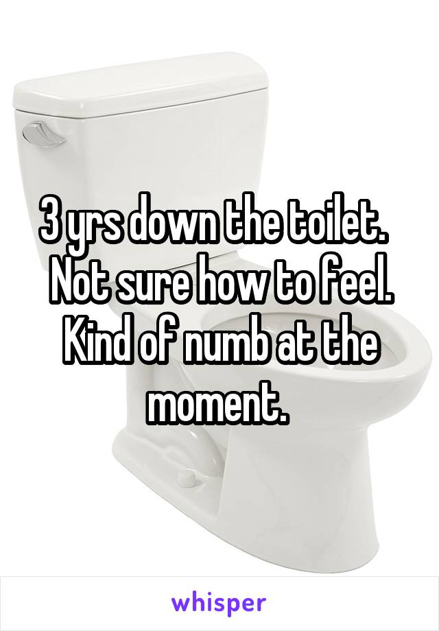 3 yrs down the toilet.   Not sure how to feel. Kind of numb at the moment.