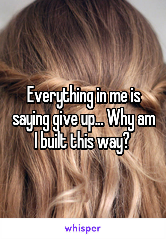 Everything in me is saying give up... Why am I built this way?