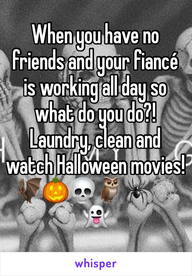 When you have no friends and your fiancé is working all day so what do you do?! Laundry, clean and watch Halloween movies! 🦇🎃💀🦉🕷🕸👻