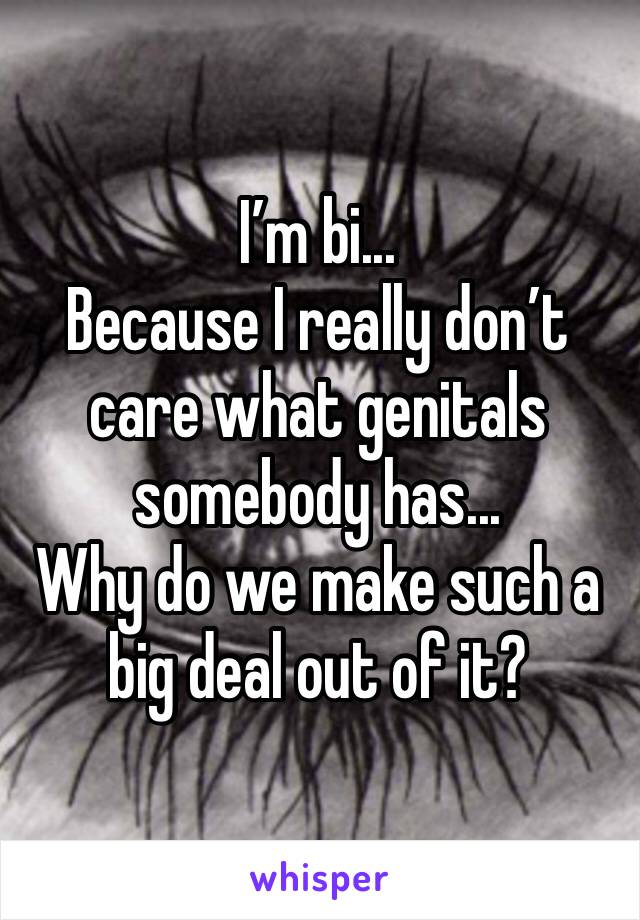 I'm bi... Because I really don't care what genitals somebody has... Why do we make such a big deal out of it?