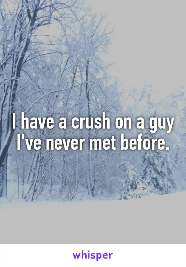 I have a crush on a guy I've never met before.