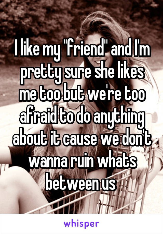 """I like my """"friend"""" and I'm pretty sure she likes me too but we're too afraid to do anything about it cause we don't wanna ruin whats between us"""