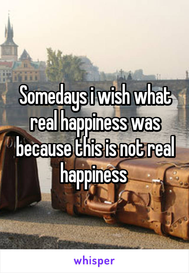 Somedays i wish what real happiness was because this is not real happiness