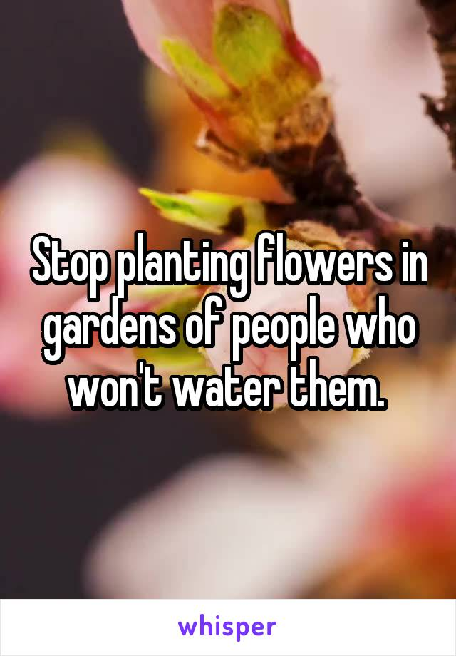 Stop planting flowers in gardens of people who won't water them.