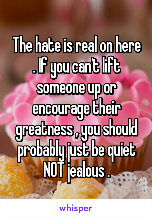 The hate is real on here . If you can't lift someone up or encourage their greatness , you should probably just be quiet NOT jealous .