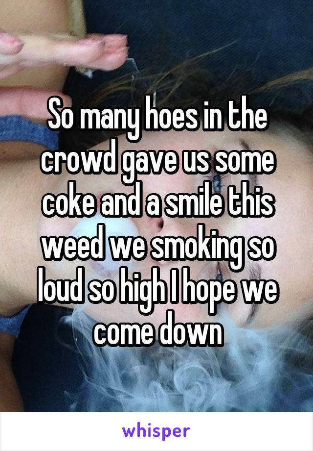 So many hoes in the crowd gave us some coke and a smile this weed we smoking so loud so high I hope we come down