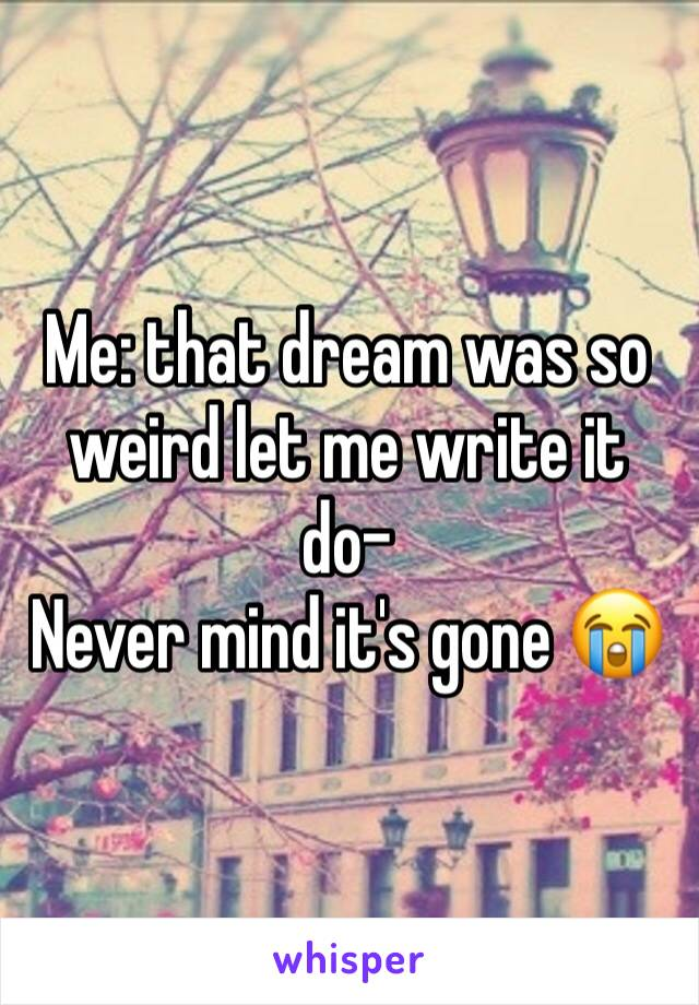 Me: that dream was so weird let me write it do-  Never mind it's gone 😭