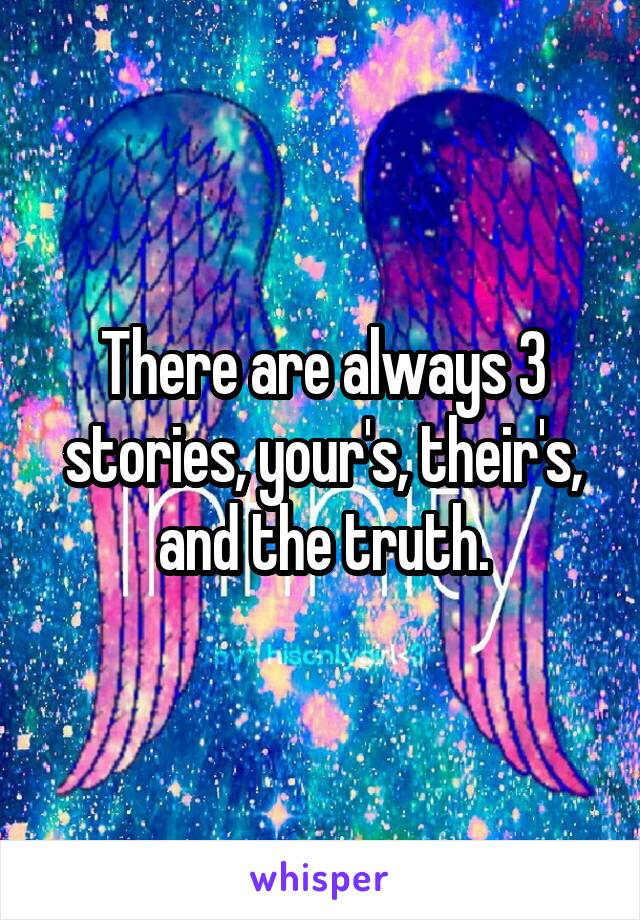 There are always 3 stories, your's, their's, and the truth.