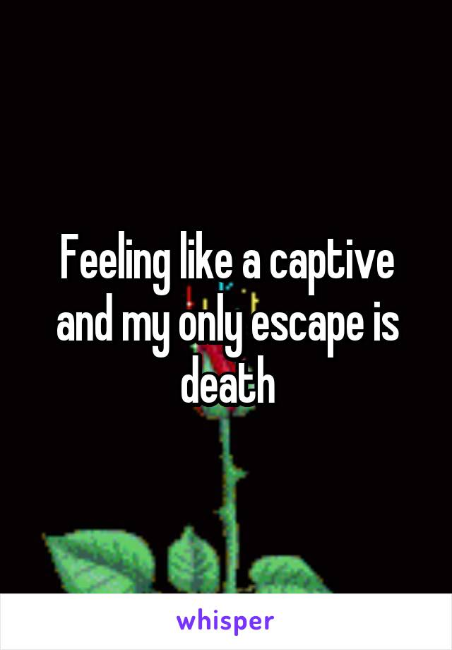 Feeling like a captive and my only escape is death