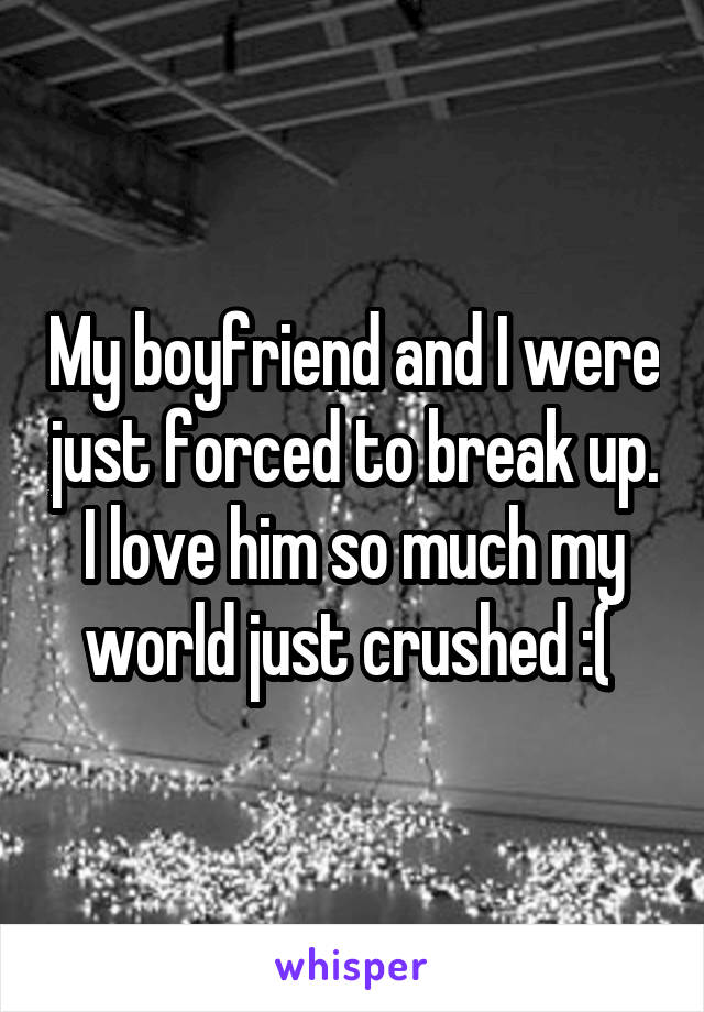 My boyfriend and I were just forced to break up. I love him so much my world just crushed :(