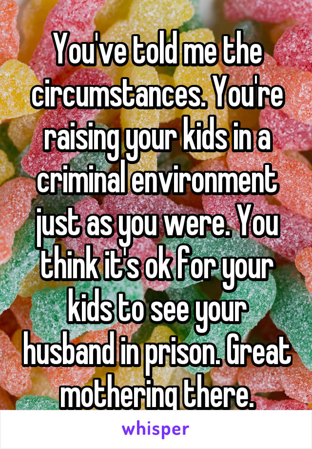 You've told me the circumstances. You're raising your kids in a criminal environment just as you were. You think it's ok for your kids to see your husband in prison. Great mothering there.