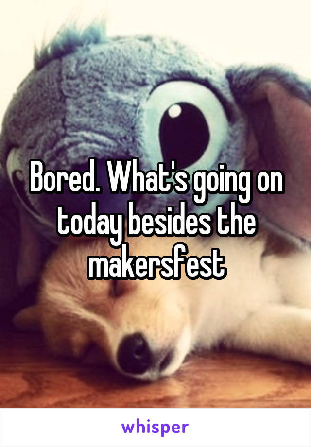 Bored. What's going on today besides the makersfest
