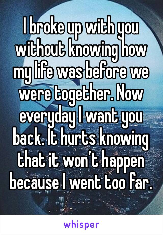 I broke up with you without knowing how my life was before we were together. Now everyday I want you back. It hurts knowing that it won't happen because I went too far.