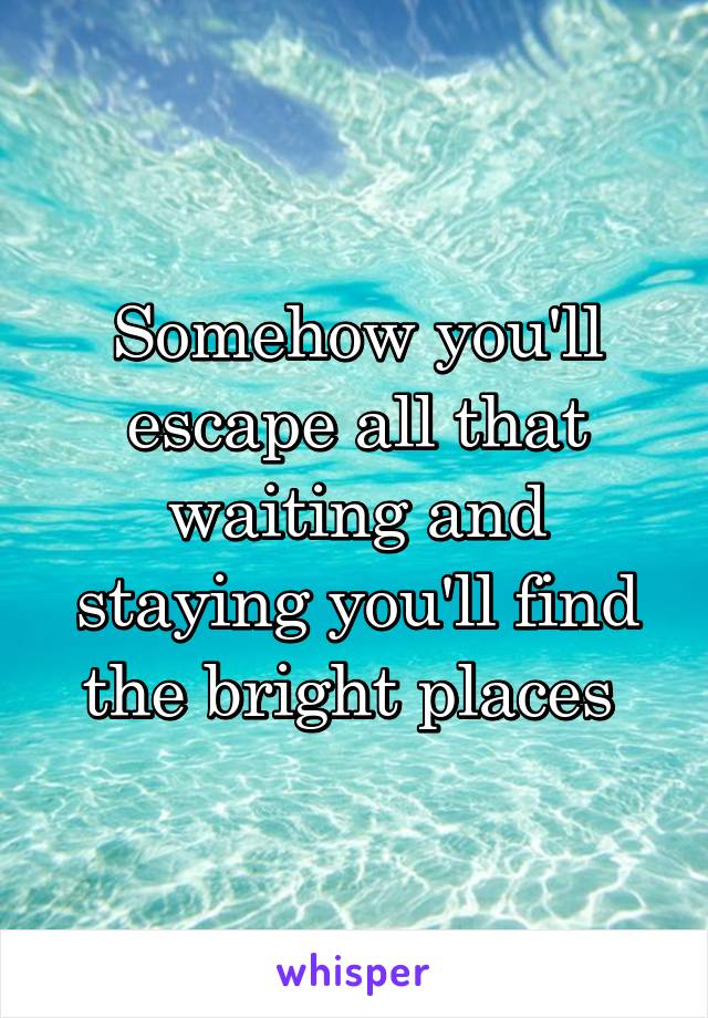 Somehow you'll escape all that waiting and staying you'll find the bright places