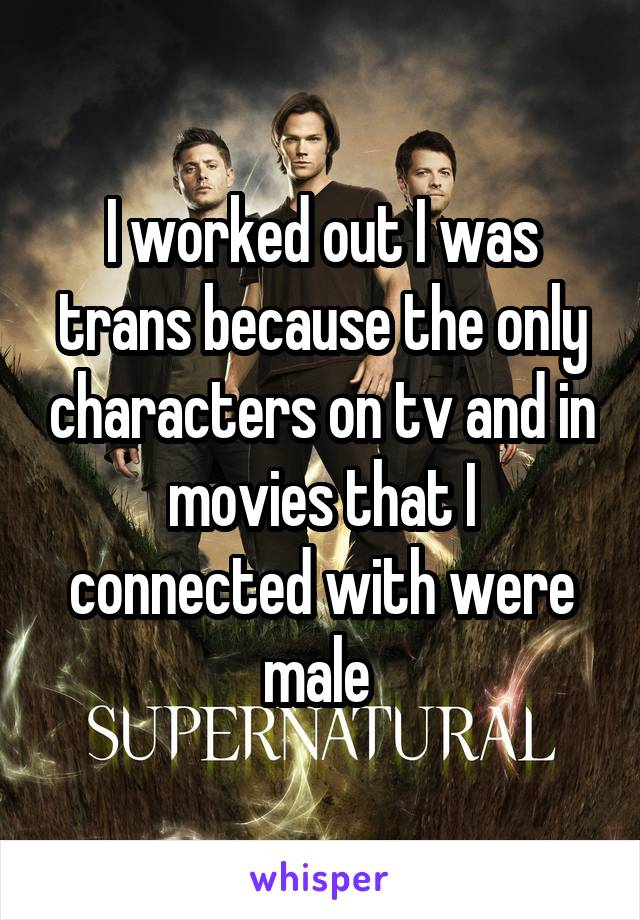 I worked out I was trans because the only characters on tv and in movies that I connected with were male