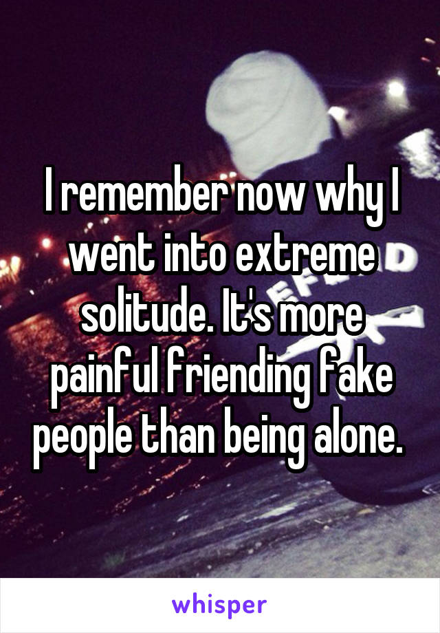 I remember now why I went into extreme solitude. It's more painful friending fake people than being alone.