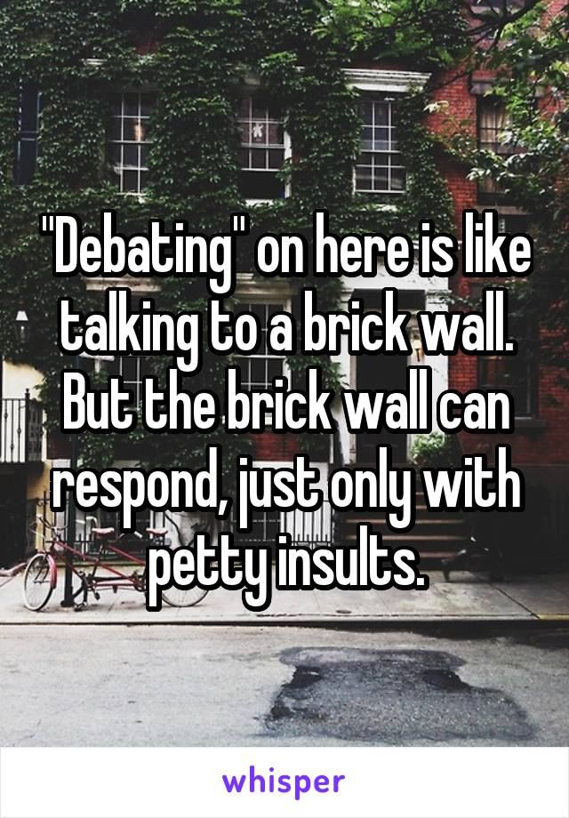 """Debating"" on here is like talking to a brick wall. But the brick wall can respond, just only with petty insults."
