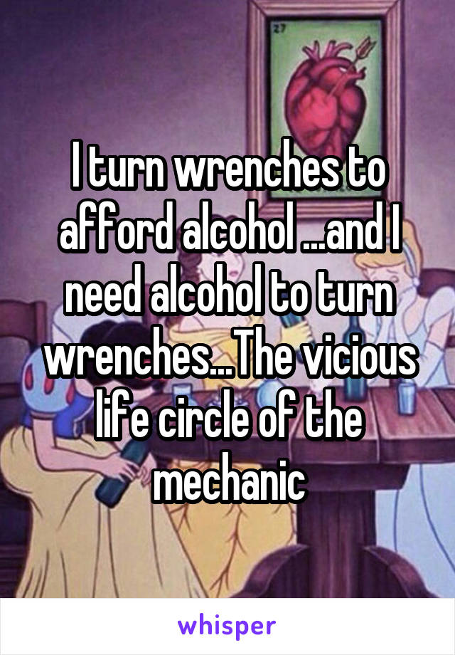 I turn wrenches to afford alcohol ...and I need alcohol to turn wrenches...The vicious life circle of the mechanic