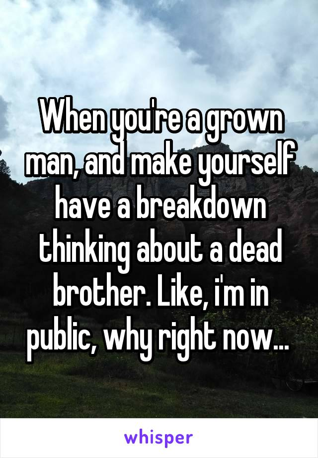 When you're a grown man, and make yourself have a breakdown thinking about a dead brother. Like, i'm in public, why right now...