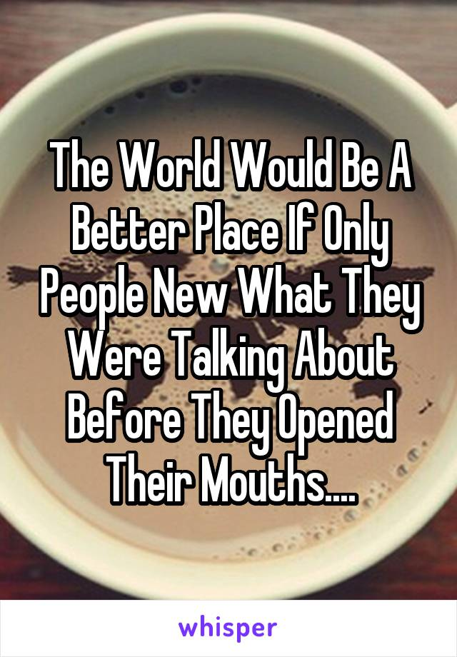 The World Would Be A Better Place If Only People New What They Were Talking About Before They Opened Their Mouths....