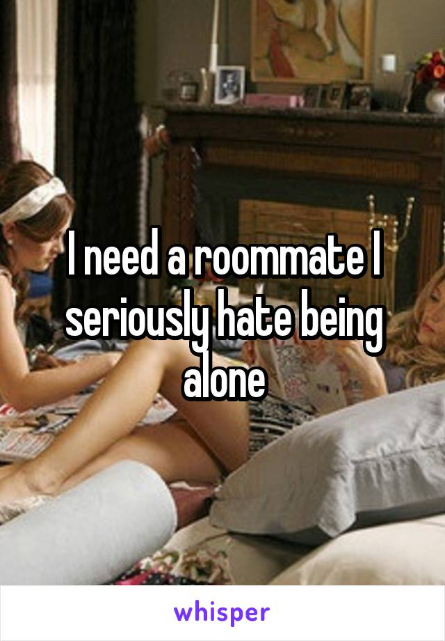 I need a roommate I seriously hate being alone