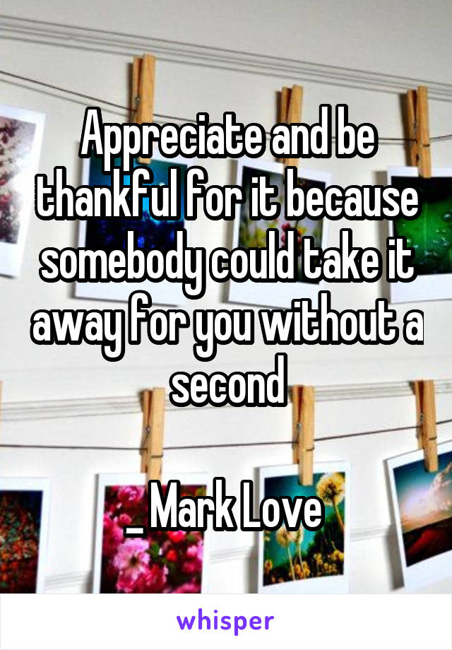 Appreciate and be thankful for it because somebody could take it away for you without a second  _ Mark Love
