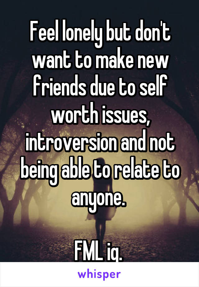 Feel lonely but don't want to make new friends due to self worth issues, introversion and not being able to relate to anyone.   FML ig.