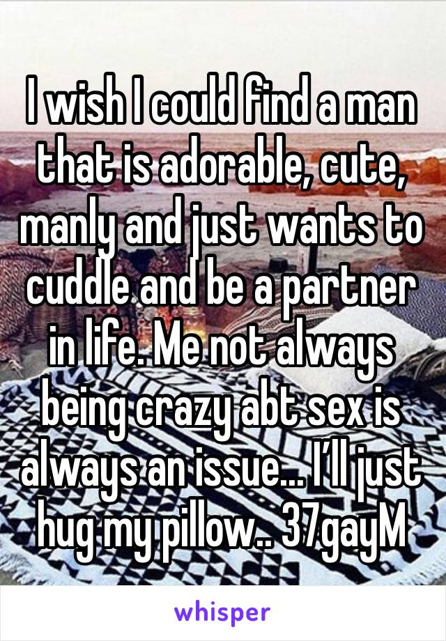 I wish I could find a man that is adorable, cute, manly and just wants to cuddle and be a partner in life. Me not always being crazy abt sex is always an issue... I'll just hug my pillow.. 37gayM