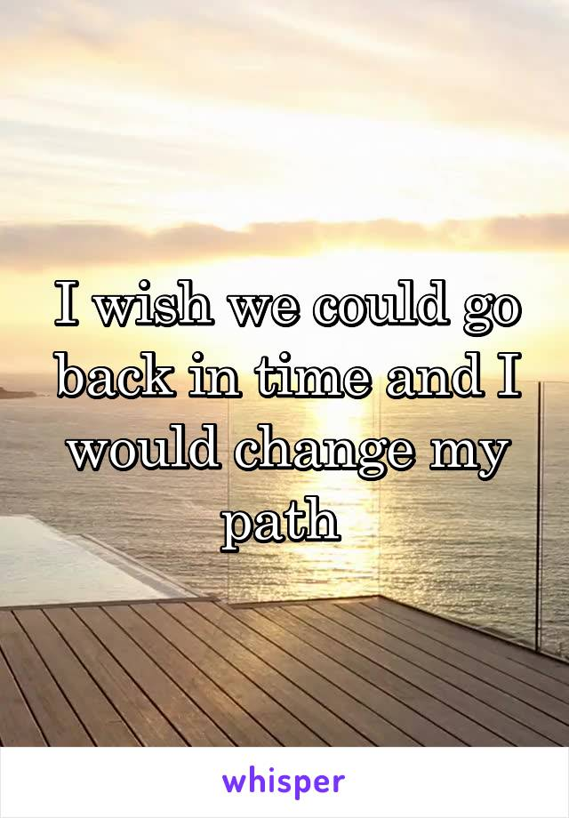 I wish we could go back in time and I would change my path