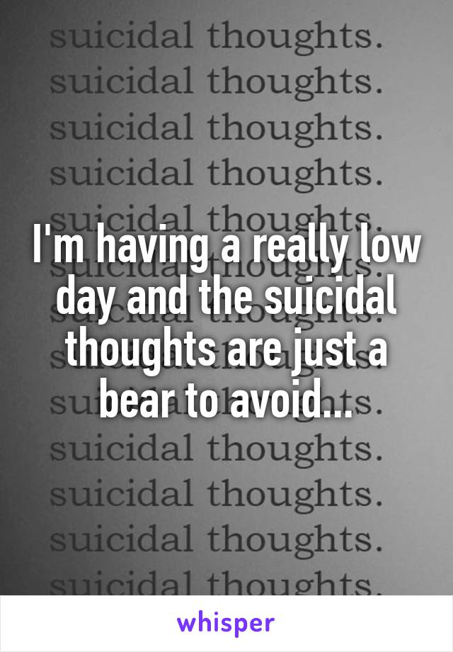 I'm having a really low day and the suicidal thoughts are just a bear to avoid...