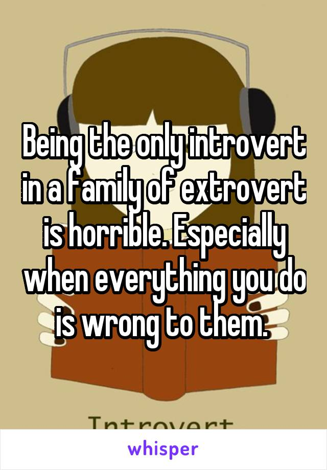 Being the only introvert in a family of extrovert is horrible. Especially when everything you do is wrong to them.