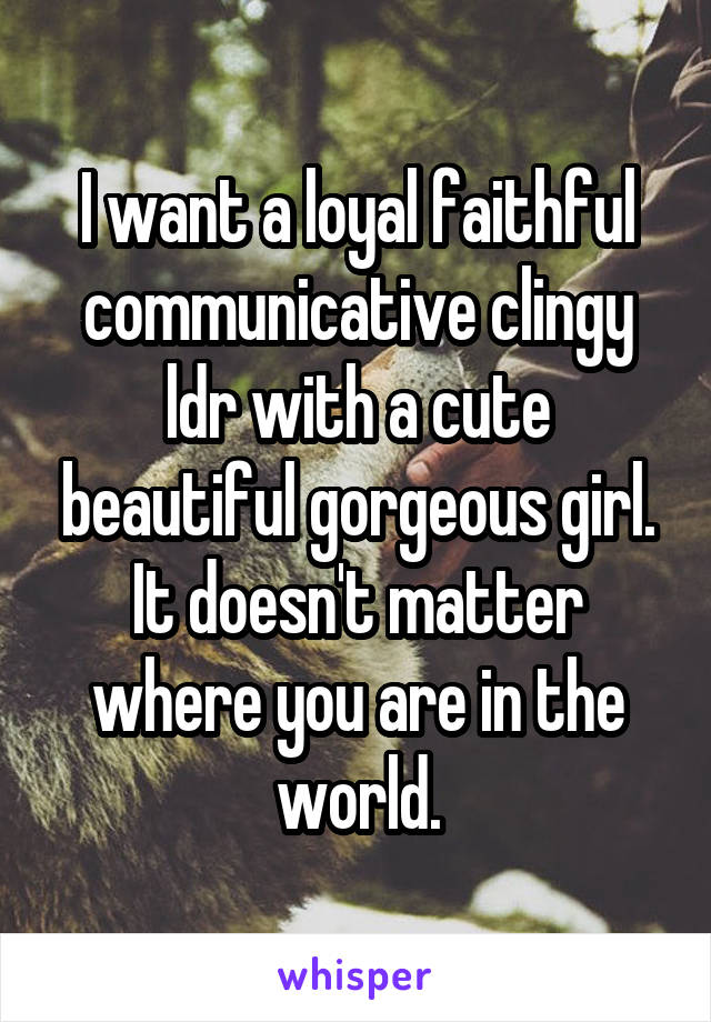 I want a loyal faithful communicative clingy ldr with a cute beautiful gorgeous girl. It doesn't matter where you are in the world.