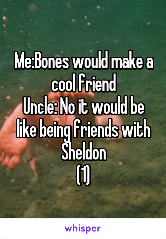 Me:Bones would make a cool friend Uncle: No it would be like being friends with Sheldon (1)