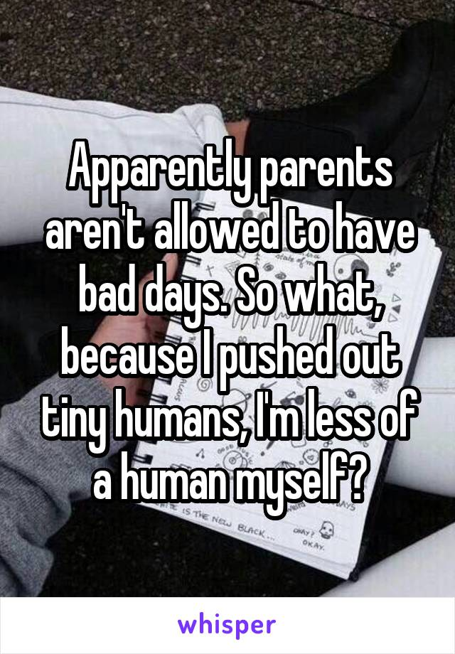 Apparently parents aren't allowed to have bad days. So what, because I pushed out tiny humans, I'm less of a human myself?