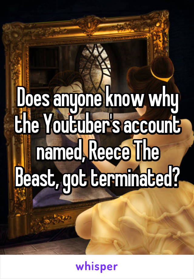 Does anyone know why the Youtuber's account named, Reece The Beast, got terminated?