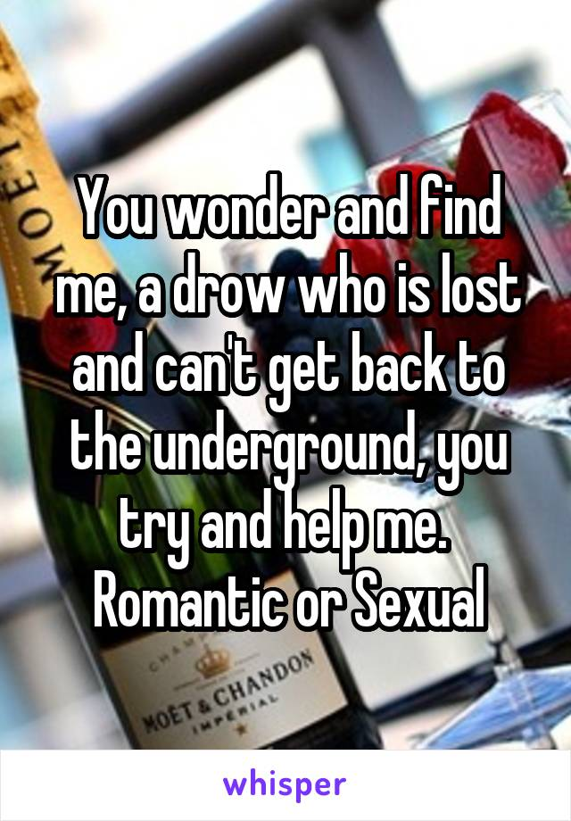 You wonder and find me, a drow who is lost and can't get back to the underground, you try and help me.  Romantic or Sexual