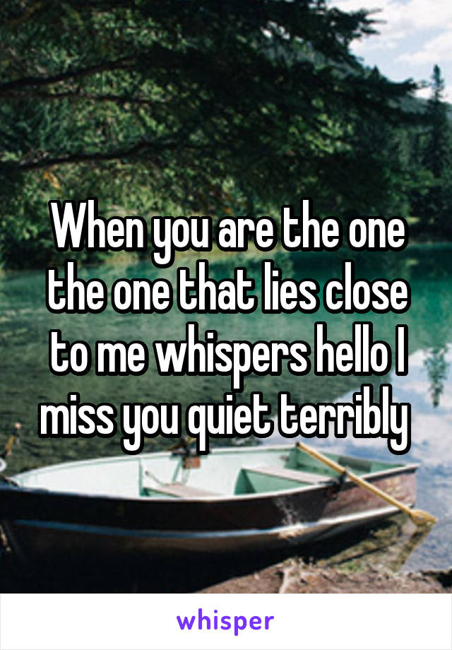 When you are the one the one that lies close to me whispers hello I miss you quiet terribly